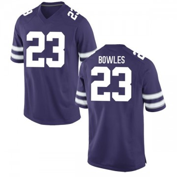 Men's Daron Bowles Kansas State Wildcats Nike Game Purple Football College Jersey